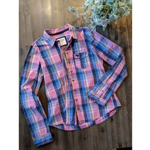 A&F pink plaid long sleeve, size large